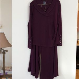 Plum polyester gaucho outfit